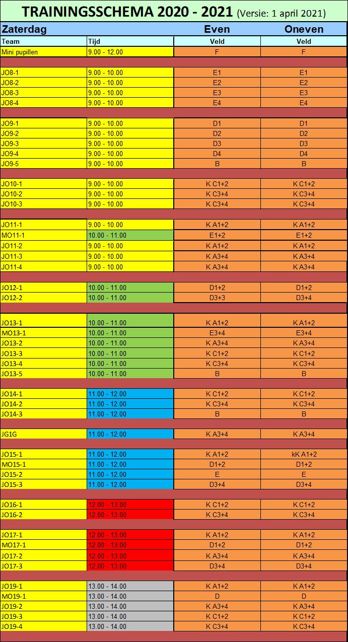 Trainingsschema zaterdag 03-04-2021