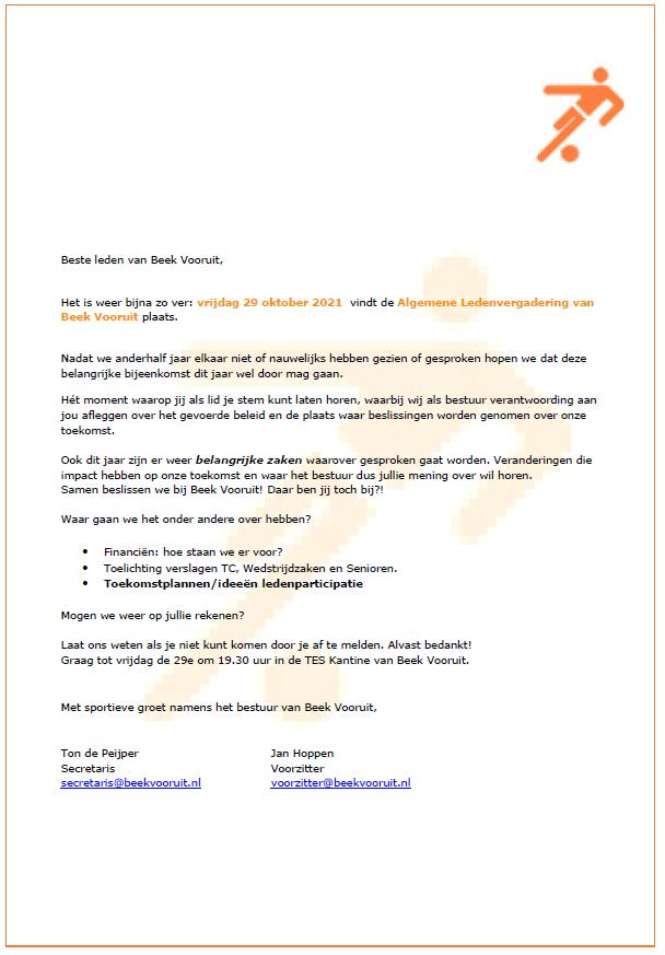 Uitnodiging Algemene Leden Vergadering (ALV) Beek Vooruit 29-10-2021